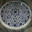 "30"" Marble Coffee Dining Table Top Dining Pietra Dura Lapis Lazuli Floral Decor"
