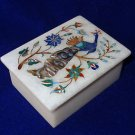 Marble Lapis Floral Peacock Handmade Jewelry Trinket Box Mosaic Home Decor Gifts