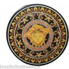 """18"""" Round Black Marble Faux Table Top Face Arts Marquetry Handmade Home Decor"""
