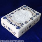 "6""x4""x1.5"" Marble Jewelry Box Lapis Lazuli Handmade Pietra Dura Inlaid Marquetry"