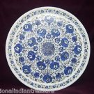 "15"" Marble Plate Pietra Dura Real Lapis Lazuli Paua Shell Inlaid Marquetry Decor"
