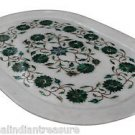 "11""x16"" White Marble Plate Tray Pietra Dura Malachite Handmade Semi Precious Art"