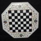 "14"" White Marble Coffee Table Top Marquetry Chess Design Play & gifts NEW"