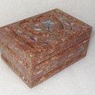 "6""x4""x3"" Marble Jewelry Box Trinket Inlay Decor Art India Fine Work Collectible"