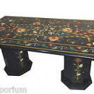 3'x6' Black Marble Dining Table Top Pietra Dura New Pattern Handmade Home Decor