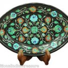 """10""""x 7"""" Black Marble Belgium Box Turquoise Floral Inlay Collectible Marquetry"""