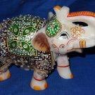 "5"" Marble Painted Elephant Jaipur Handmade Turning Safari Home Decor Gifts Art"