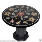 "23"" Black Marble Table Top Dining Handmade Mosaic Corner Table With Stand Art"