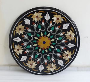 """24"""" Black Marble coffee Dining Table Top handmade Marquetry Inlaid Gifts Art"""