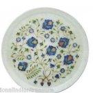 """12"""" White Marble Plate Pietra Dura Lapis Lazuli Handmade Semi Precious Inlaid"""