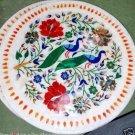 "15"" Marble Plate Handmade Hakik Floral Design Pietra Dura Peacock Gifts Arts"