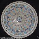 """18"""" Marble Plate Attractive Fine Work Lapis Lazuli Semi precious Pietra Dura"""