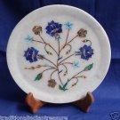 "8"" Decorative White Marble Plate Lapis Lazuli Mixed Pietra Dura Handmade Gifts"