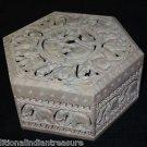 "7""x7""x4"" Marble Gorara Jewelry Box Handmade Trinket Home Decor Elephant Gifts"