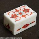 "4""x3""x1.5"" White Marble Jewelry Box Handmade Pietra Dura Hakik Marquetry Gifts"