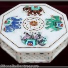 "8""x8""x2"" White Octagon Marble Jewelry Box Trinket Filigree Handmade Elephant Art"