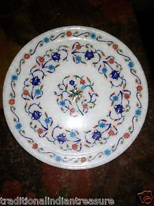 "12"" Marble Decorative Plate Art Marquetry Mosaic Pietra Dura Home Decor Gifts"