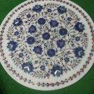 "12"" Marble Plate Handmade Lapis Lazuli Floral Mosaic Pietra Dura Decor Gifts Art"