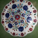 "15"" Lapis Lazuli Hakik Marble Plate Inlaid Floral Pietra Dura Home Decor Gifts"