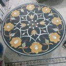 "24"" Black Marble Marquetry Coffee Dining Table Top Floral Mosaic Decor Art"