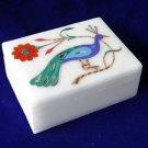 Marble Jewelry Trinket Box Lapis Lazuli Peacock Handmade Home Decor Gifts