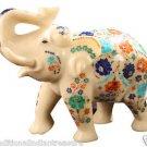 "7"" Decorative Marble Elephant Hakik Floral Pietradure Mosaic Gifts Decor Inlay"