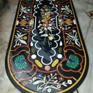 6'x2' Black Marble Dining Coffee Table Top High Quality Peacock Handmade Arts