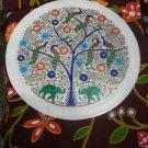 "15"" White Marble Plate Peacock Pietra Dura Fine Art Handmade Home Gifts Mosaic"