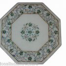 """12"""" White Marble Coffee Table Top Handmade Paua Shell Pietra Dura With Stand New"""