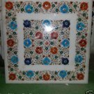 "24""x24"" Marble Coffee Dining Table Top Pietra Dura Square Floral Design Decor"