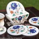 Marble Coaster Set Real Inlay Work Lapis Lazuli Marquetry Home Collectible Gifts