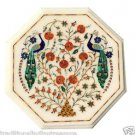 "12"" White Italian Marble Top Coffee Table Peacock Arts Side Pietra Dura Inlaid"