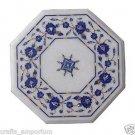 "12"" White Marble Table Top Handmade Pietra Dura Lapis Lazuli Side Table Decor"