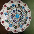 """18"""" Marble Plate Inlaid Turquoise Handmade Floral Semi Design Home Decor New"""