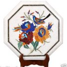 "13"" White Marble Coffee Corner Table Top Lapis Inlay Hakik Floral Art Marquetry"
