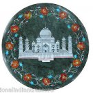 "12"" Green Marble Coffee Taj Mahal Floral Side Table Top Marquetry Home Decor Art"