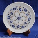 "8"" White Marble Plate Pietra Dura Lapis Lazuli Inlay Work Decor Home Arts Gifts"