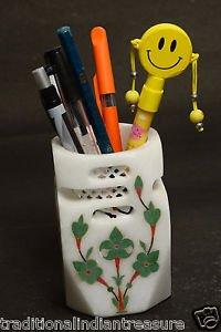 White Marble Pen Holder Stand Pietra Dura Malachite Home Decor Handmade Art