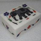 "4""x3""x1.5"" Marble Jewelry Box Trinket Handmade Black Elephant Arts Home Decor"