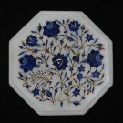 "10"" Marble Coffee Table Top Pietra Dura Lapis Lazuli Floral Inlaid Semi Precious"