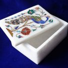 Marble Paua Shell Floral Peacock Handmade Jewelry Trinket Box Home Decor Gifts