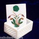 "4""x3""x2"" Marble Jewelry Box Trinket Filigree Malachite Pietra Dura Home Decor"