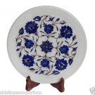 White Marble Serving Tray Plate Kishti Lapis Stone Mosaic Floral Inlay Art Gifts