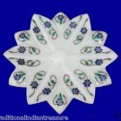 "5"" White Marble Dry Fruit Bowl Collectible Malachite Semi Precious Inlay Work"