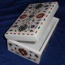 "6""x4""x3"" White Marble Jewelry Box Paua Shell Floral Buds Arts Handmade Home Arts"