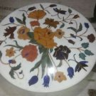 "30"" Marble Coffee Dining Table Top Floral Round Inlaid Orginal Home Decor Gifts"