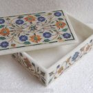 "6""x4""x2"" Marble Jewelry Box Handmade Pietra Dura Real Inlaid Home Decor gifts"