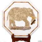 "20"" Marble Coffee corner Table Top Handicraft Semi Precious Elephant Inlay Decor"