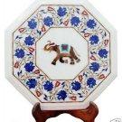 "14"" White Marble Coffee Corner Table Top Lapis Lazuli Mosaic Elephant Home Décor"