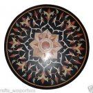 3'x3' Black Marble Table Top Handmade Pietra Dura Dining Table Top Inlaid Decor